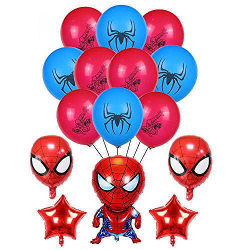 smileh Decoracion Cumpleaños Spiderman Globos Spider Man Aluminio Globo para Niños Decoraciones de Fiesta 17PCS