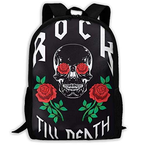 Hangdachang School Backpack Rock to Death Type Fashion Design Skull Pink Bookbag Casual Travel Bag for Teenagers Boys Girls