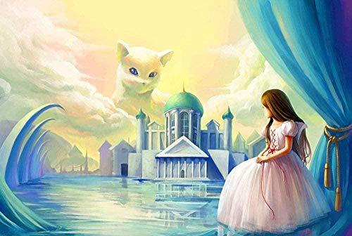 DGSJH Diy 5D Kits de pintura de diamantes para adultos, niños, castillo, princesa y gato, mosaico completo, bordado, kits de cruz, manualidades, decoración del hogar, regalo único 40X50Cm