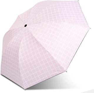 LINrxl Plaid Three Fold Wind UV Protection Dual-use Sunny Rain Umbrella Portable Manual Sun Umbrella (Color : Pink)