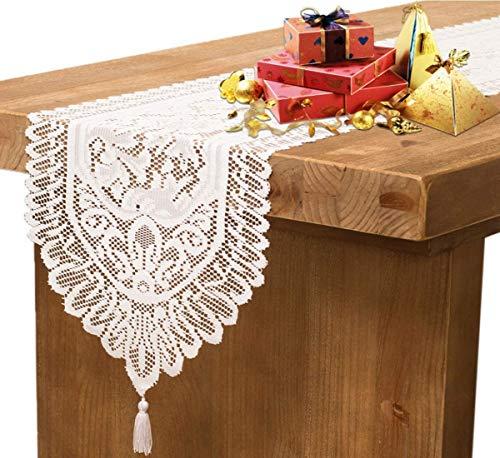 Starlight&Infinity Camino de mesa bordado de encaje con borla para decoración de Navidad, vacaciones, boda, fiesta, centro de mesa para decoración del hogar