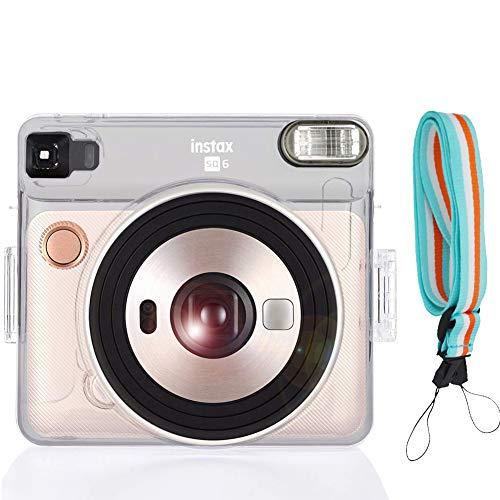 SAIKA Kameratasche mit verstellbarem Schultergurt für Fujifilm Instax Square SQ6 Sofortbildkamera, transparent