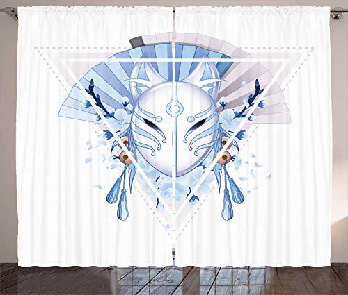 ABAKUHAUS Kabuki Rustikaler Gardine, Fox Kitsune, Schlafzimmer Kräuselband Vorhang mit Schlaufen und Haken, 280 x 175 cm, Blassblau Weiß Beige