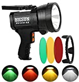 BIGSUN Q953 10000mAh Rechargeable LED Spotlight with Red/Yellow/Green Filter Lens, High Lumen Hunting Flashlight, IPX4...