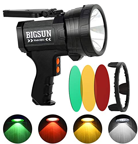 BIGSUN Q953 10000mAh Rechargeable LED Spotlight with Red/Yellow/Green Filter Lens, High Lumen Hunting Flashlight, IPX4 Waterproof Marine Boat Handheld Spotlight, with Tripod and USB Charger Included