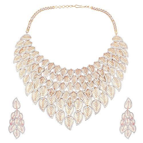 SONI SAPPHIRE - Parure composta da Collana con Orecchini Lunghi in Oro Rosa e Argento smaltato con Diamanti Americani per Ragazze e Donne