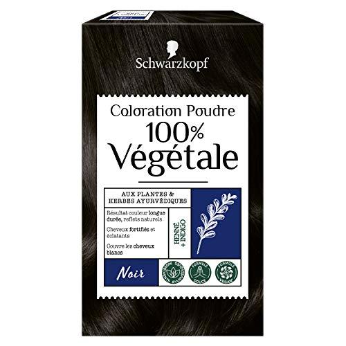 Schwarzkopf - 100% Végétale - Coloration Cheveux Poudre Naturelle - Couvre les Cheveux Blancs - Couleur longue durée - Formule Vegan - Henné -Noir
