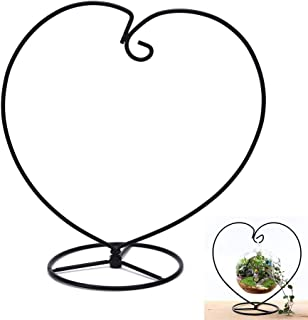 Oteshina 1pc Handmade Ball Vase Heart Shape Iron Stand Simple Stylish Hanging Glass Plant Home Decoration - Rocks Propagation Atrium Drip Beads Tray Pump Hanger Pink Glass Plate Glob