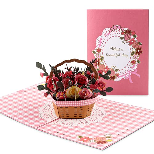Tarjetas Felicitaciones, Tarjeta de Aniversario 3D, Tarjetas Felicitación Aniversario, Tarjeta Emergente Canasta de Flores Rosas, Para Novia o Madre, Regalo Del Día de La Madre, Tarjeta de Regalo Boda