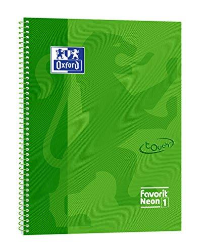 Favorit 400108150 - Maxi Quaderno Spiralato Neon1, Rigatura 5 mm, Verde Fluo