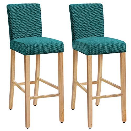 XIANYU Estiramiento Extraíble Lavable Juego de 1/2/4/6 Fundas para sillas de Comedor Fundas para taburetes de Bar Fundas para sillas de taburetes de Bar (Verde Oscuro,Set of 2)