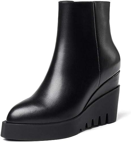 HBDLH Chaussures pour Femmes La Pente du Fond De Bottes à Talon Peau De Vache Tête Pointue à L'Intérieur Et à L'Extérieur De La Peau.