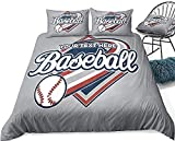 Bdhnmx Duvet Cover Set 3 Pcs 3D Printed Baseball Fun Baseball Bedding Set with Zipper Closure Supersoft Lightweight Microfiber Cotton-Super King Size 220x260cm