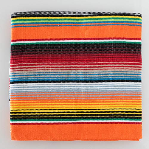 Damikan's Mexican Blankets, 84 X 59 Inch Mexican Serape Blanket, Mexican Tablecloth Serape Tatami Blanket Bed Blanket Table Cover Picnic Mat for Mexican Party Wedding Decorations(Orange)