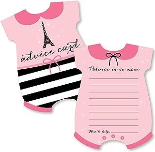 Big Dot of Happiness Paris, Ooh La La - Baby Bodysuit Wish Card Paris Themed Baby Shower Activities - Shaped Advice Cards Game - Set of 20