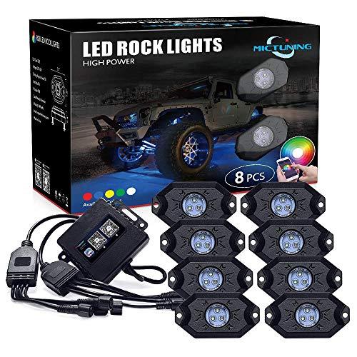 MICTUNING 8pcs RGB Rock LED Unterbodenbeleuchtung mit Bluetooth Timing Musik Kontrolle für Fahrzeug SchiffSchutzabdeckung für KFZ-Boot Marine-SUV