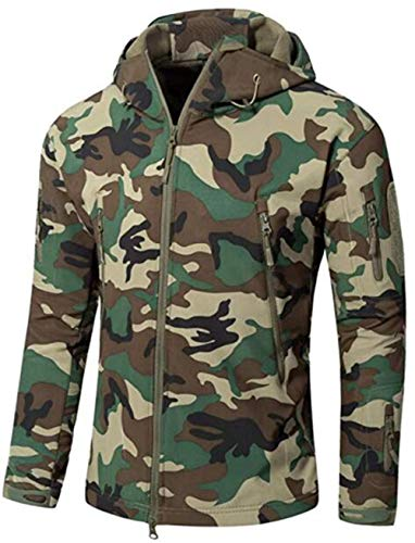 XBTECH Herren-Jacke, wasserdichte Taktische Jacke, Winter, Outdoor, Camouflage, Softshell-Jacke, Fleecefutter