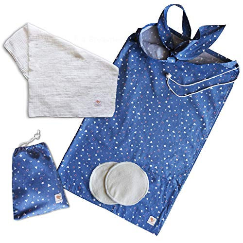 Great Nursing Cover for Breastfeeding with 2 Pockets - Adjustable Breastfeeding Apron - Matching Carry Bag - 100% Soft Breathable Cotton for Full Cover Feeding w/Attachable Muslin Baby Blanket - Blue