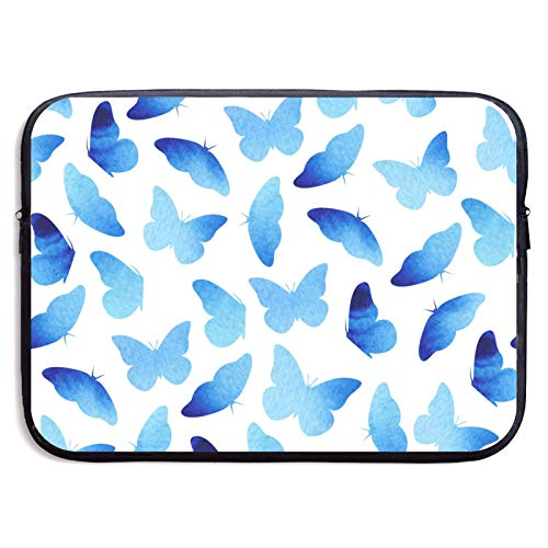 Laptop Sleeve Case Cover Bag, Computer Travel Pocket Pouch Handbag Compatible, Portable Tablet Slipcases Carry Bag for MacBook/HP/Acer/Asus/Dell Blue Butterflies 13 15 inch