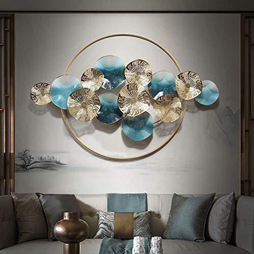LXDDP Estante Redondo de la decoración del Arte de la Pared del Hueco de la Hoja del Loto Dorado del Hierro Forjado del Metal Grande