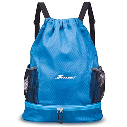 Drawstring Backpack Bag with Shoe and Wet Compartment Sports Gym Swim Beach Bag Blue