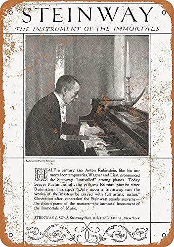 Rachmaninoff for Steinway Pianos Tin Sign Poster Wall Art Cafe Club Pub Home Living Room Retro Decoration 12x16 Inches