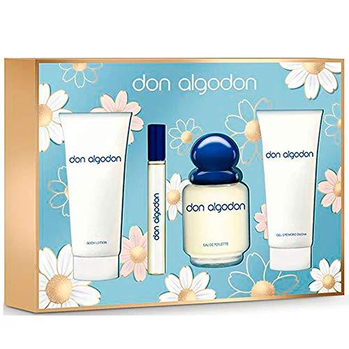 DON ALGODÓN pack colonia spray 100 ml + colonia 10 ml + gel de ducha 75 ml + body lotion 75 ml