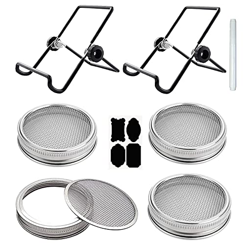 4 Set Sprouting Lids for Regular Mouth Mason Jars Canning Jar 304 Stainless Steel with 2 Pcs Sprouting Stands, 4 Pcs Chalkboard Labels, 1 Pcs Liquid Chalk Marker for Easy Grow Organic Sprouts
