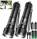 Rechargeable LED Tactical FLashlights High Lumens, 8000 Lumens XHP50 Super Bright LED Flashlight with 2200mah Battery, Zoomable, IPX6 Waterproof, 5Modes, Powerful Handheld Flashlight for Camping, 2PCS