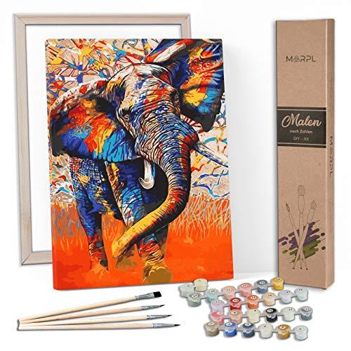 MARPL® Malen nach Zahlen Erwachsene [DIY-Kit] mit Rahmen - Malset mit vorgedruckter Leinwand für Gemälde Acrylfarben Kreativ Motiv 40 * 50cm Elefant