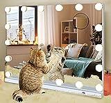 Hollywood Espejo con luces para mesa de maquillaje de dormitorio, espejo de maquillaje LED con 3 colores, 18 bombillas, toma USB Smart Touch, espejo de tocador grande iluminado