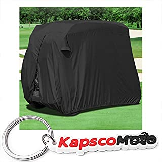 Waterproof Superior Black Golf Cart Cover Covers Club Car, EZGO, Yamaha, Fits Most Two-Person Golf Carts + KapscoMoto Keychain