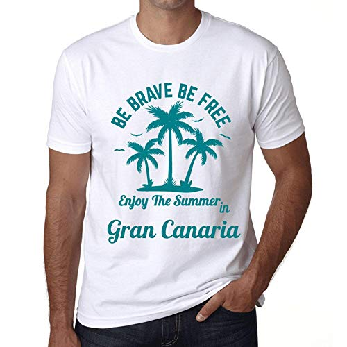Hombre Camiseta Gráfico T-Shirt Be Brave & Free Enjoy The Summer Gran Canaria Blanco