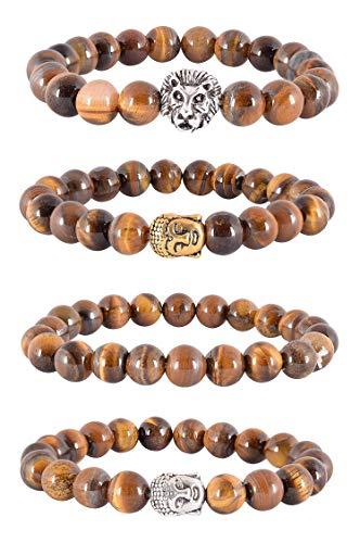 Ratnagarbha Tiger-Eye Reiki Yoga Meditation Healing Charms Stretchable Gemstone Beads Bangle Bracelet for Men/Women, Wholesale Price.
