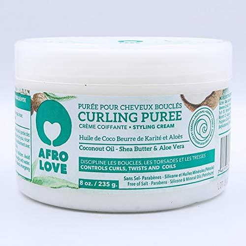 Afro Love Curling Puree - Crema Per Capelli Ricci con Olio di Cocco, Burro di Karitè e Aloe Vera - Senza Siliconi, Parabeni e Olio Minerale 235 Grammi