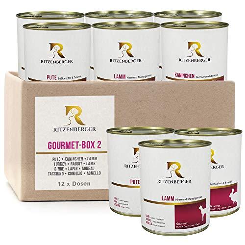 Ritzenberger Hundefutter Gourmet-Box #2 | 12 x 400g Dosen (4,8kg) | Nassfutter vom Metzgermeister
