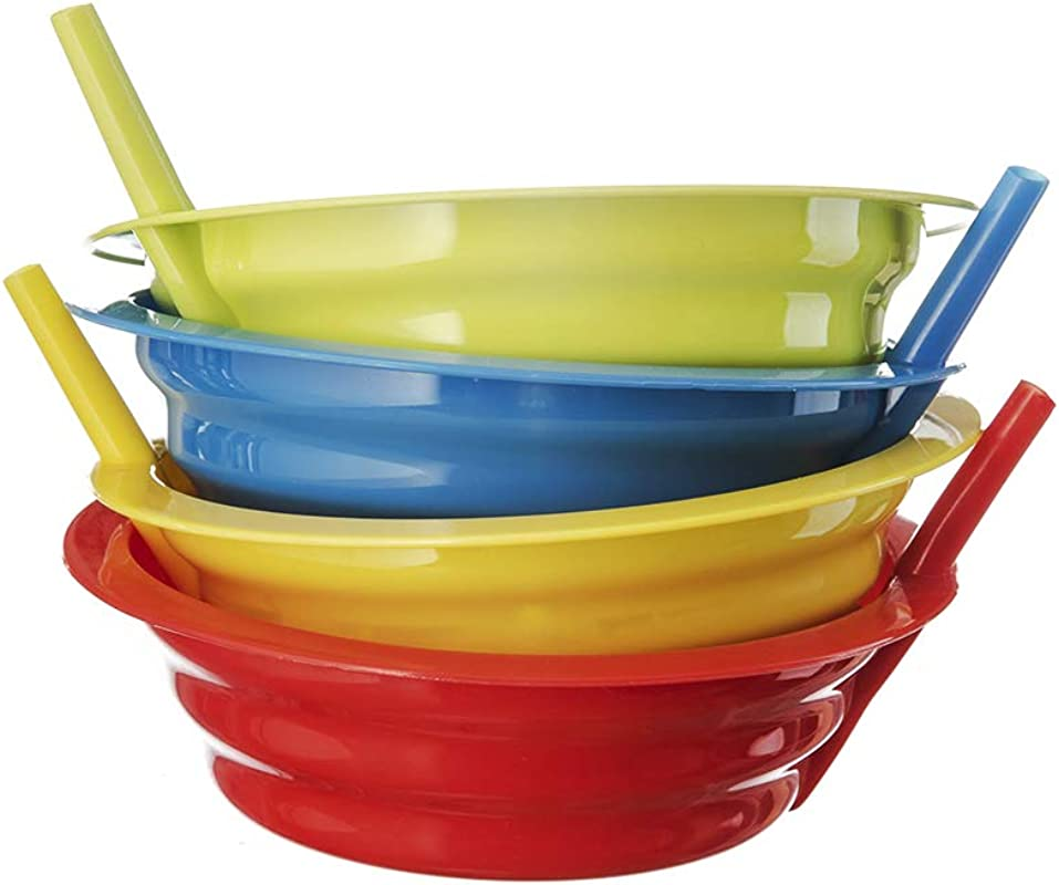Sip A Bowl With Built In Straw 4 Pack BPA Free 22 Oz Sip A Bowl Microwave And Dishwasher Safe Colors May Vary