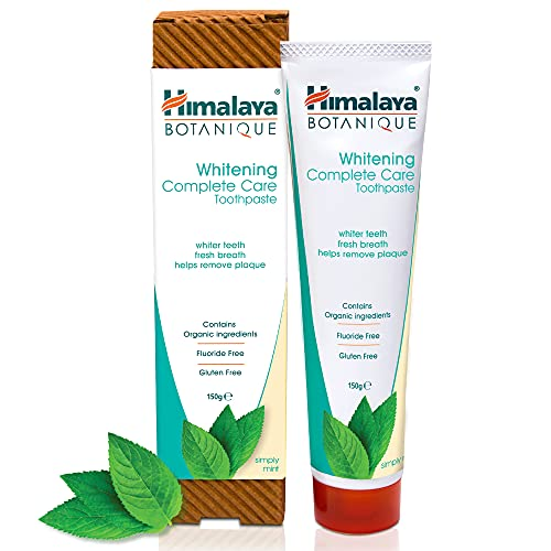 Himalaya Botanique Whitening Simply Mint 150g - All Natural Fluoride-Free SLS FREE, Gluten Free and Carrageenan Free Organic Toothpaste