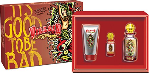 Ed Hardy Villain Set for Women (Eau De Parfum Spray, Eau De Parfum Spray, Body Lotion)