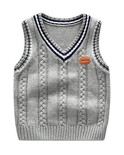 Niños Niñas Jersey De Punto Sin Mangas Chaleco Cuello En V Suéter Pullover Uniforme De Colegio