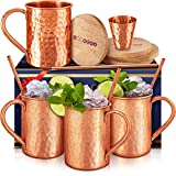 Moscow Mule Copper Mugs Set :4 16 oz. Solid Genuine Copper Mugs Cylindrical Shape : Handmade in...