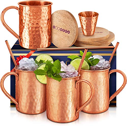 [Gift Set] Moscow Mule Mugs Set Of 4 16 oz. Solid Genuine 100% Pure Copper Cups Cylindrical Shape :HANDCRAFTED in India,BONUS 4 Straws, 4 Wood Coasters, & Shot Glass , Comes in Elegant Box,by Yooreka