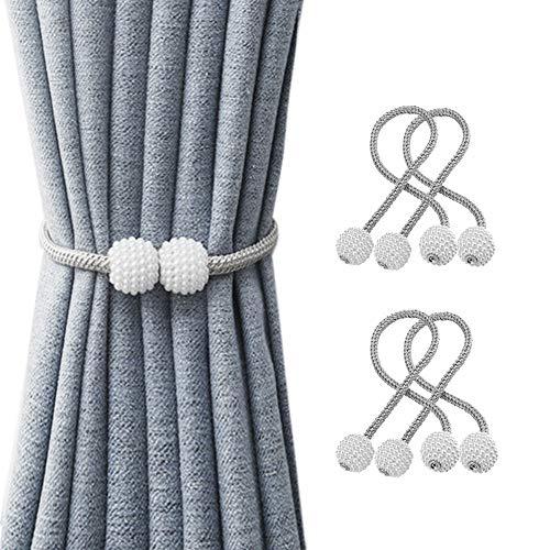 Suoxu Vorhang-Raffhalter, 4 Stück, magnetische Vorhang-Raffhalter, Perlenkugel, Vorhang-Clips, Seil-Halterung, Schnallen für Zuhause, Büro, dekorativ (grau)