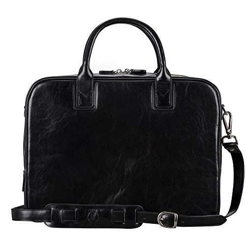Maxwell Scott Men's Luxury Leather Soft Briefcase - Calvino Black