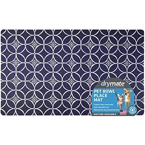 "Drymate Pet Bowl Placemat, Dog & Cat Food Feeding Mat - Absorbent Fabric, Waterproof Backing, Slip-Resistant - Machine Washable/Durable (USA Made) (12"" x 20"") (Indigo)"