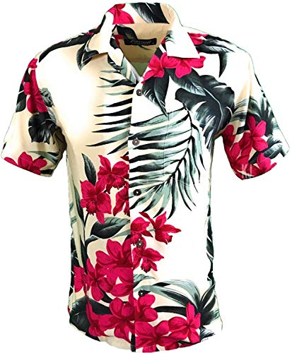 Tropical Luau Beach Floral Print Men's Hawaiian Aloha Shirt (X-Large, Cream/Pink)