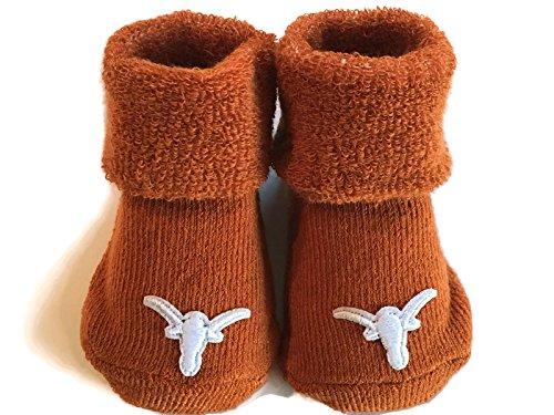Texas Longhorns Baby Booties UT Burnt Orange Infant Socks NCAA Licensed Team Logo