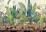 Papel pintado de fondo dibujado a mano grande de la selva tropical tropical de la planta flores y pájaros animal bosque-150 * 105cm