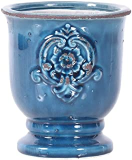 Little Green House Ceramic Blue Round Vase - Small