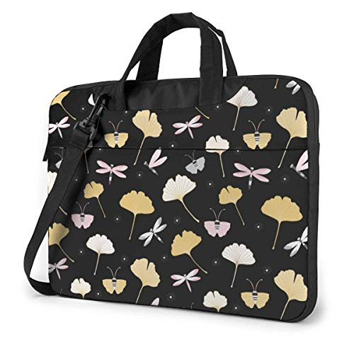 15.6 inch Laptop Shoulder Briefcase Messenger Ginkgo Leaves Insect Butterfly Dragonfly Paint Tablet Bussiness Carrying Handbag Case Sleeve